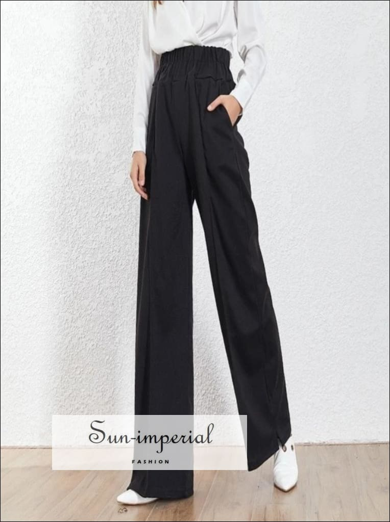 Kira Pants - Black Wide Leg Trousers For Women High Waist Loose fit Long Elastic Pants Black Wide Leg Trousers Female Korean Fashion High