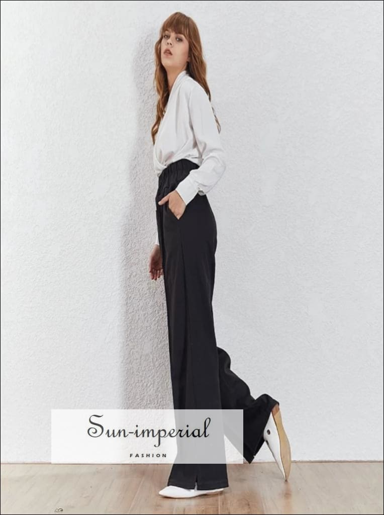 Kira Pants - Grey Wide Leg Trousers For Women High Waist Loose fit Long Elastic Pants Black Wide Leg Trousers Female Korean Fashion High