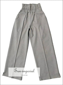 Kira Pants - Grey Wide Leg Trousers for Women High Waist Loose Fit Long Elastic Pants