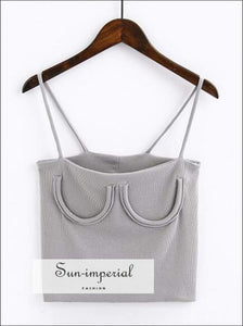 Knitted Chest Crescent Cami Strap Crop top - Grey SUN-IMPERIAL United States