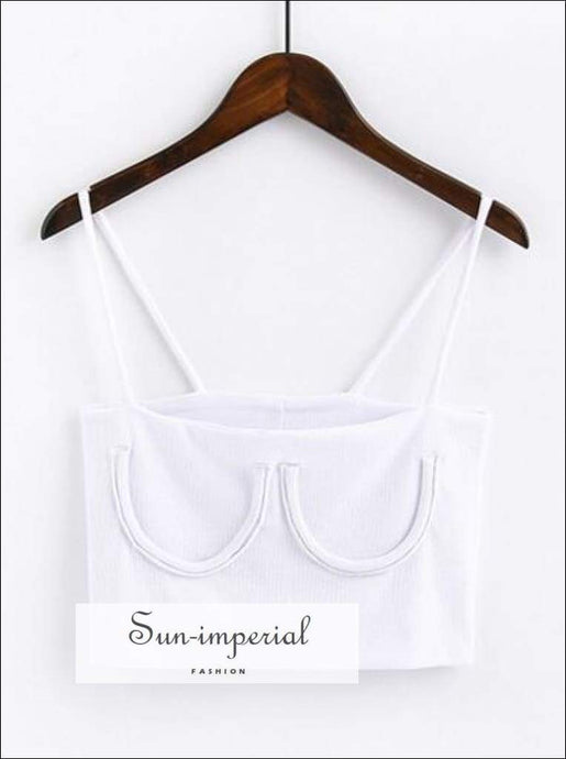Knitted Chest Crescent Cami Strap Crop top - White SUN-IMPERIAL United States