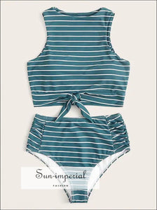 Knot front top with Dot High Waist Bikini Set - Black Striped bottom SUN-IMPERIAL United States