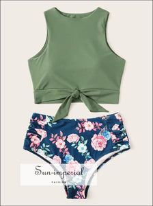Knot front top with Dot High Waist Bikini Set - Green Flower bottom SUN-IMPERIAL United States