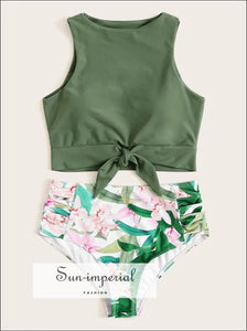 Knot front top with Dot High Waist Bikini Set - Green Tropical bottom SUN-IMPERIAL United States