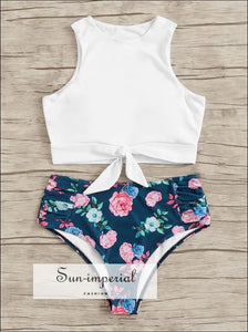 Knot front top with Dot High Waist Bikini Set - Pink White Snake bottom SUN-IMPERIAL United States