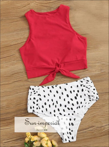 Knot front top with Dot High Waist Bikini Set SUN-IMPERIAL United States