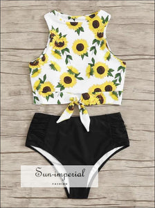 Knot front top with Dot High Waist Bikini Set - White Daisy Print and Black bottom SUN-IMPERIAL United States