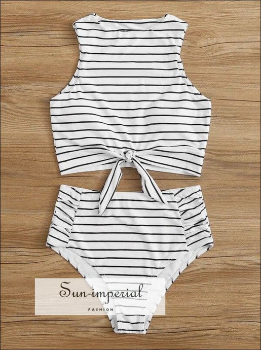 Knot front top with Dot High Waist Bikini Set - White Striped and bottom SUN-IMPERIAL United States