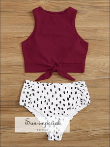 Knot front top with Dot High Waist Bikini Set - Wine Red White Black bottom SUN-IMPERIAL United States