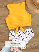 Knot front top with Dot High Waist Bikini Set - Yellow