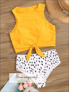 Knot front top with Dot High Waist Bikini Set - Yellow SUN-IMPERIAL United States