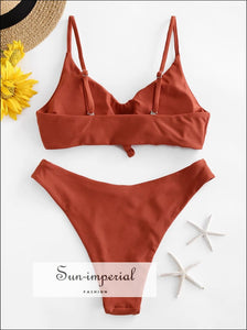 Knot High Cut Bralette Bikini Swimsuit Sets SUN-IMPERIAL United States