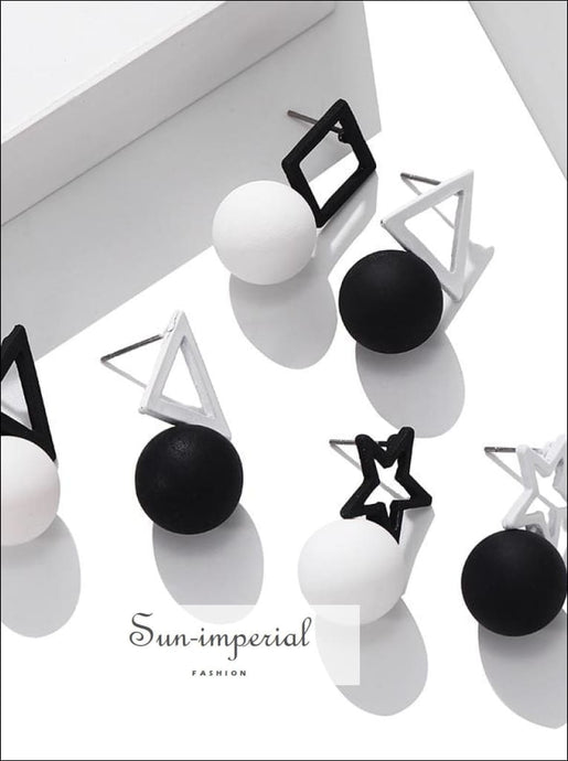 Korean Black White Triangle Square Pentagram Earrings Simple Ball Drop for Women SUN-IMPERIAL United States