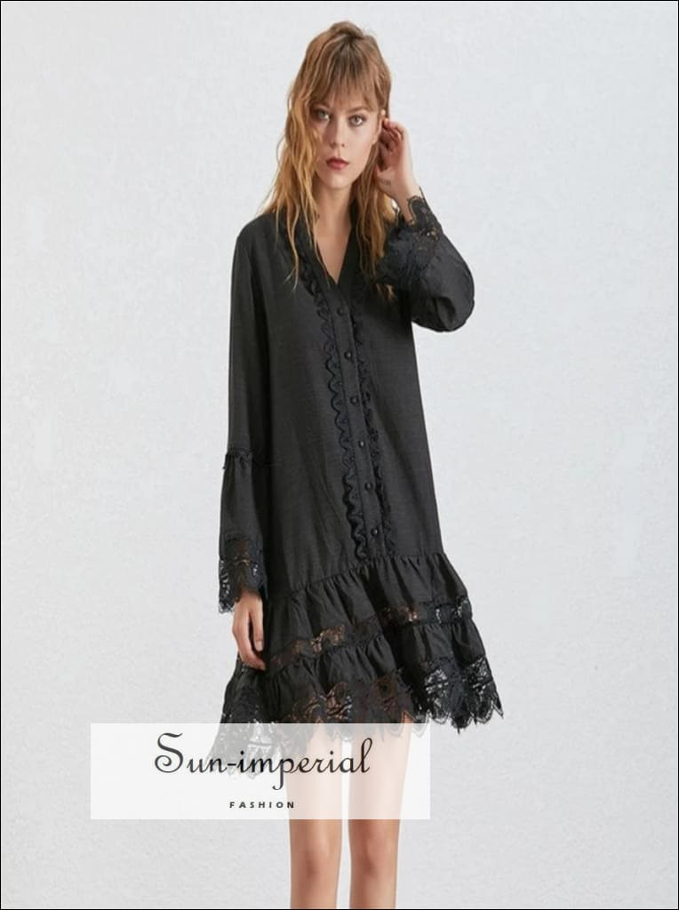 Korean Dress- Women Flare Sleeve O Neck Button Lace Patchwork Dresses Female Fashion new Patchwork, Fashion, Sleeve, Straight Dress, vintage