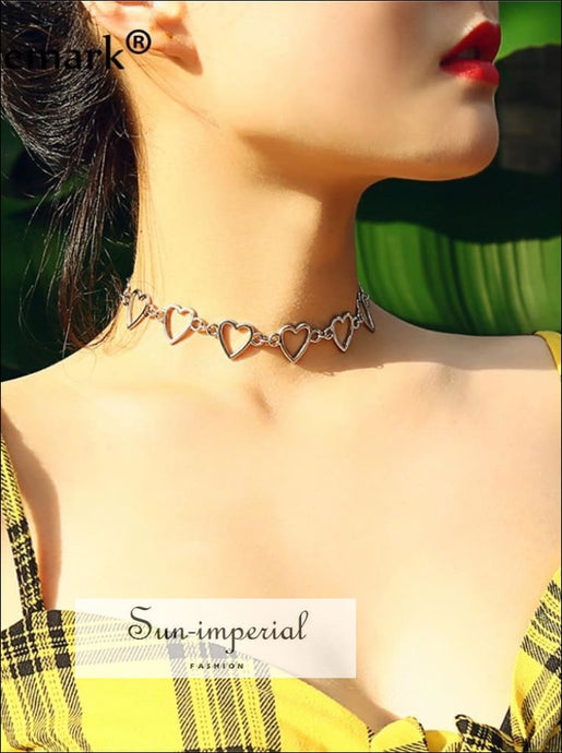 Korean Sweet Love Heart Choker Necklace Statement Gold Silver Collier Necklace SUN-IMPERIAL United States