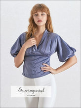 Kyleigh top -women Elegant Solid V Neck Blouse Puffed Sleeve