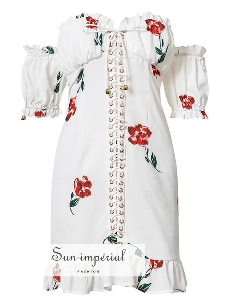 Lace up off the Shoulder Mini Dress Short Sleeve Floral Print Ruffle White Beach SUN-IMPERIAL United States