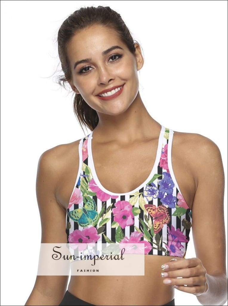 Ladies Sport Bra Mobile Phone Pocket Yoga Running Printed Outdoor Fitness Exercise Sports SUN-IMPERIAL United States