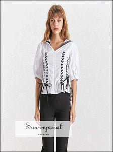Lara top - Casual Blouse for Women O Neck Puff Sleeve Tunic Shirt Female Fashion Preppy