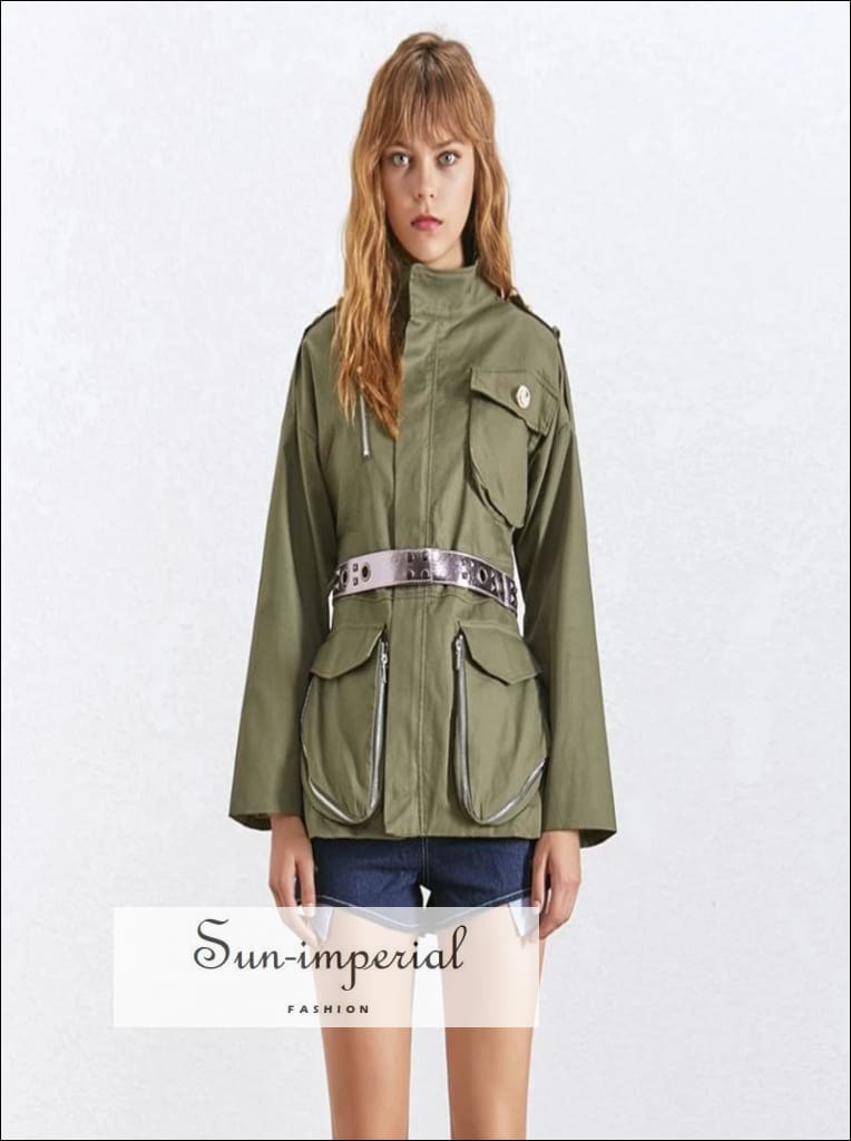 Lauren Coat - Women Military Jacket Coat Long Sleeve Zipper front Pockets Coat Jacket Coat Lapel Collar Long Sleeve Slim Pockets vintage