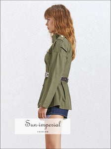 Lauren Coat - Women Military Jacket Coat Long Sleeve Zipper front Pockets Coat