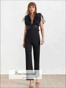 Le Havre Jumpsuit -women Solid Black and White Vintage Mesh Tie Strap Deep V Neck Sleeveless High Patchwork, Sleeveless, Slim Pants Female,
