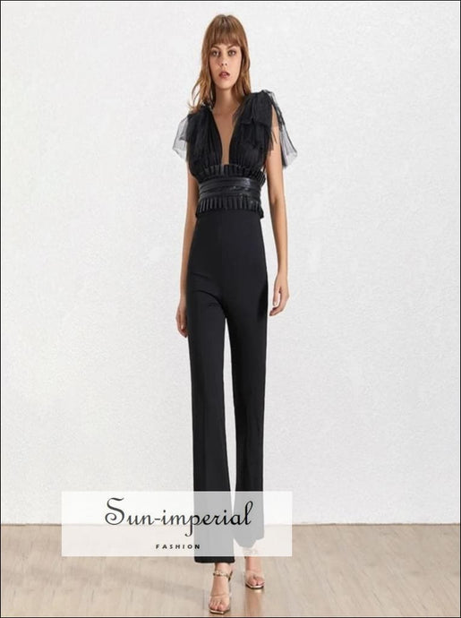 Le Havre Jumpsuit -Women Solid Black and white Vintage Mesh tie strap Deep V Neck Sleeveless High Waist Slim Jumpsuit Mesh Patchwork