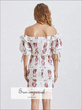 Le Tampon Dress - Print for Women Slash Neck Lantern Sleeve High Waist Lace Mini Short Sleeve, Dresses, Dress, Neck, Vintage SUN-IMPERIAL