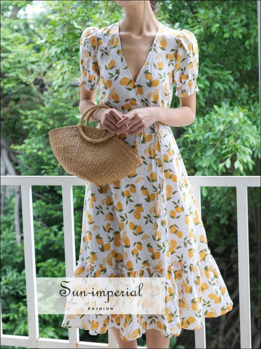 Lemon Fruit Print Women Summer Vintage Dress Ruffled Decor Wrap Flare Short Sleeve Sun fruit decor wrap flare short sleeve SUN-IMPERIAL