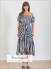 Lena Dress - Summer Striped Women O Neck Short Sleeve High Waist Hit Color Asymmetrical Midi Waist, Neck, Sleeve, Striped, vintage