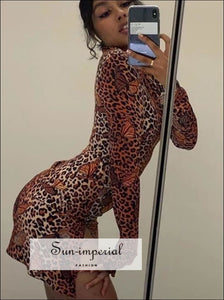 Leopard Butterfly Print High Neck Long Sleeve Dress Side Split Mini Bodycon Party SUN-IMPERIAL United States