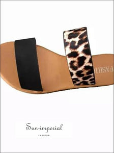 Leopard Double Band Flat Slide Sandals animal print, best seller, Flat, Flip Flops, Leather/PU SUN-IMPERIAL United States