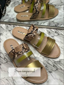 Leopard Double Band Flat Slide Sandals - Yellow