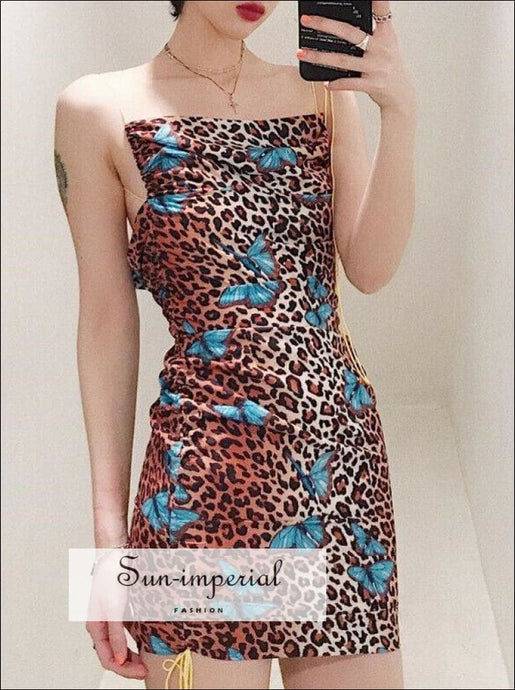 Leopard Pencil Dress Backless Mini Bodycon Slim Party dress SUN-IMPERIAL United States