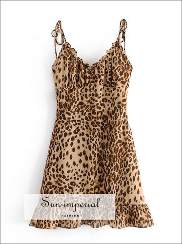 Leopard Print Cami Straps Ruched Bust Mini Dress with Ruffles detail chick sexy style, harajuku With Detail, Preppy Style Clothes, Summer