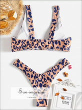 Leopard Print Swimsuit Beachwear Swimwear Push-up Bikini Bathing