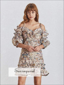 Lexi Dress- Vintage Floral Print Cold Shoulder Lantern Sleeve Women Mini Dress Ruffles Hem A-line Dresses, High Waist, Sleeve, Strapless,