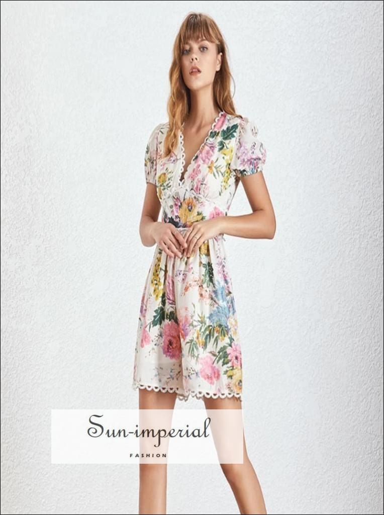 LIA ROMPER - WOMEN SHORT SLEEVE FLORAL SHORT ROMPER V NECK Patchwork Short Sleeve V Neck vintage Women Jumpsuit SUN-IMPERIAL United States