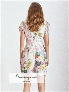 Lia Romper - Women Short Sleeve Floral V Neck Patchwork, Sleeve, Neck, vintage, Jumpsuit SUN-IMPERIAL United States