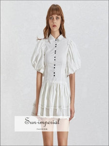 Lidia Dress - Casual White Dress for Women Lapel Collar Puff Short Sleeve High Waist Button Mini