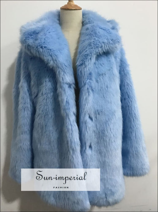 Light Blue Shaggy Women Faux Fur Jacket Mid Length Coat Beach Style Print, Bohemian Style, chick sexy style, elegant harajuku style