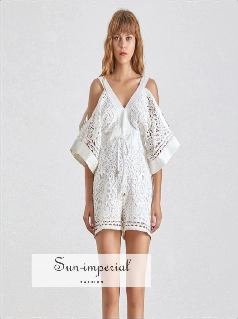 Limoges Romper - white lace short V Neck cold Shoulder Backless High Waist jumpsuit Off Shoulder Slim Bow Playsuit Summer Beach Style V Neck