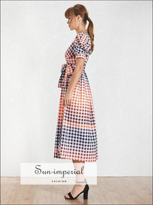 Linda Dress - Vintage Plaid Colorful Maxi V Neck Puff Short Sleeve Casual, Long Dresses, Sleeve, Neck, vintage SUN-IMPERIAL United States