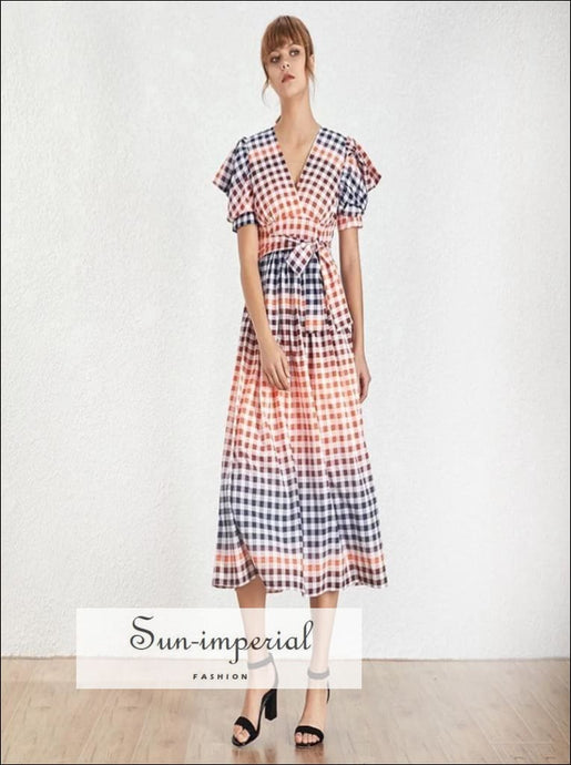 Linda Dress - Vintage plaid colorful maxi Dress V Neck Puff short Sleeve dress Casual Plaid Long Dresses Puff Sleeve V Neck vintage