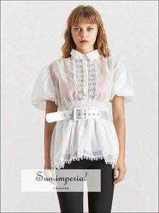 Lisa top - Black and White Elegant Sheer Belted Women Blouse Lapel Collar Short Puff Sleeve Chiffon Embroidery Patchwork, Half Sleeve,