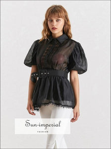 Lisa top - Black and White Elegant Sheer Belted Women Blouse Lapel Collar Short Puff Sleeve Chiffon
