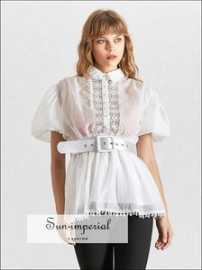 Lisa top -  White Elegant Sheer Belted Women Blouse Lapel Collar Short Puff Sleeve Chiffon Top