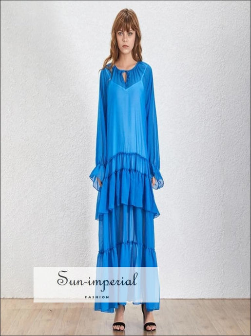 Lola Dress- Summer Ruffles Patchwork Perspective Womens Dress V Neck Petal Long Sleeve Loose Dresse Female Fashion New 2019 Loose Dresse