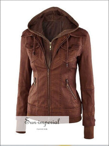 Long Sleeve Faux Leather Two-piece Women's Leather Jacket Pocket 4 Colors Xs-xl