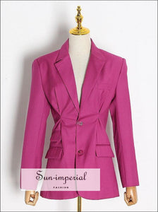 Long Sleeve Hot Pink Women Blazer Coat elegant style, Unique style SUN-IMPERIAL United States